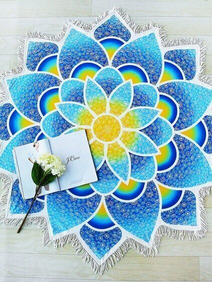Blue Lotus Flower Shape Fringe Trim Beach Blanket