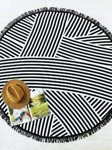 Black Striped Print Fringe Detail Round Beach Blanket
