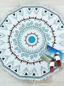 Manta playera con estampado geométrico y diseño de flecos