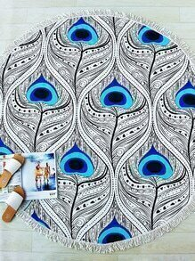 Manta playera redonda con estampado de pluma y detalle de flecos