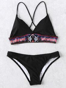 Ensemble de bikini noir tribal imprimé triangle