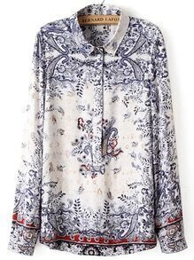 Multicolor Tribal Print Blouse With Buttons