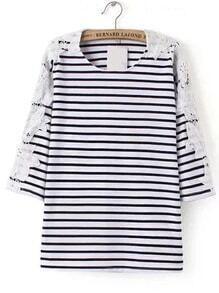 Camiseta de rayas con encaje en contraste - negro blanco