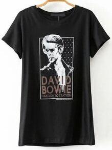 Schwarzes Porträt-Druck-Kurzschluss-Hülsen-T-Shirt