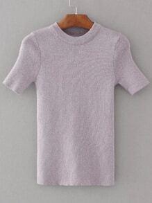 Jersey con cuello redondo de manga corta - violeta