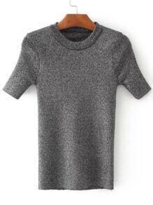Jersey con cuello redondo de manga corta - negro