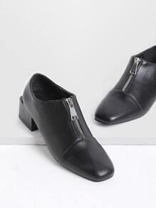 Black Zipper Detail Square Toe PU Heels