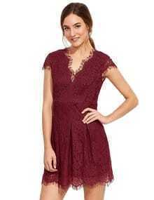 Burgundy Deep V Neck Cap Sleeve Lace Dress