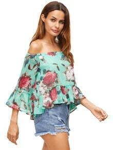Green Floral Off The Shoulder Blouse