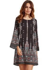 Vestido negro con estampado azteca