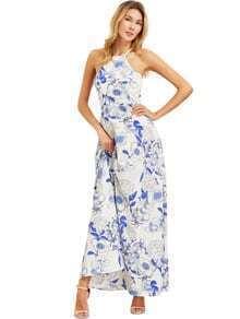 White Halter Neck Floral Print Maxi Dress