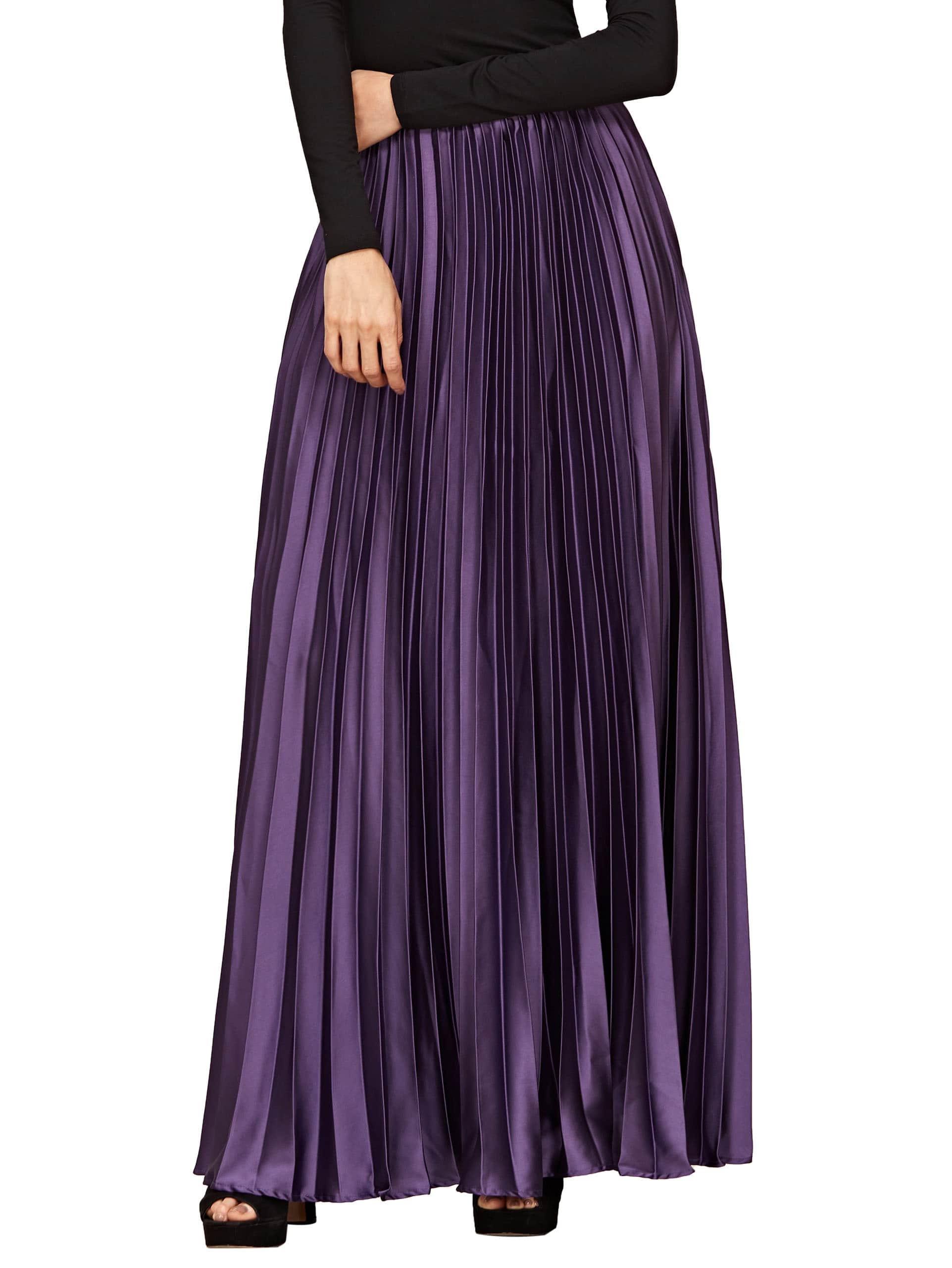 purple zipper side pleated flare maxi skirt