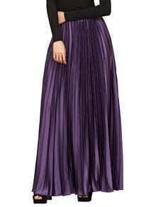 Púrpura cremallera lateral plisada Maxi Falda