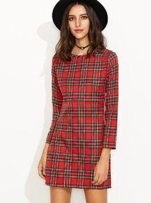 Red Plaid Zipper Back Long Sleeve Sheath Dress