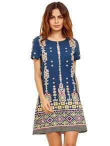 Rosa en el vestido azul del cambio de la impresión azteca