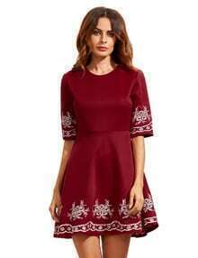 Burgundy Sleeve Embroidered Flare Dress