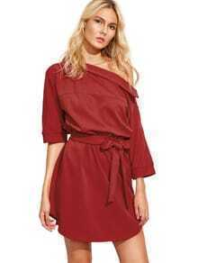 Red Self-tie Waist Buttoned Shoulder Dress