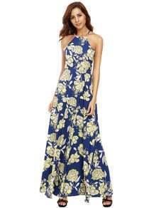 Mehrfarben-Halfter-Nacken-Blumendruck-Maxi-Kleid