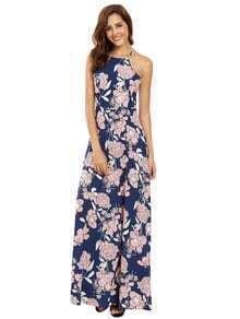 Multicolor Halter Neck Impresión Floral Maxi Vestido