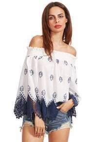 Embroidered Scallop Trim Off The Shoulder Blouse