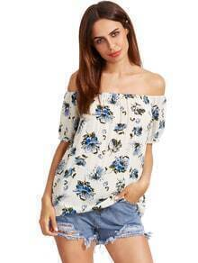 Multicolor Flower Print Off The Shoulder Blouse