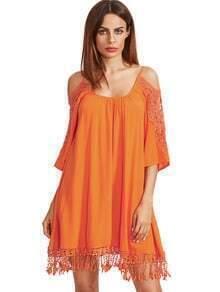 Naranja hombro abierto de ganchillo vestido de la borla de la manga del cordón