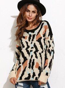 Jersey con estampado leopardo - multicolor