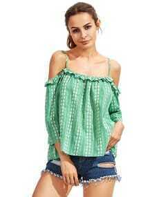 Green Blue Cold Shoulder Ruffle Blouse