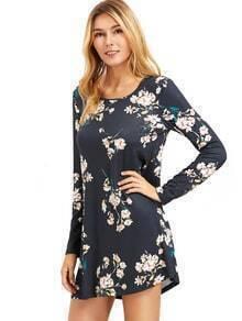 Floral Print V Neck Lattice-Back Skater Dress