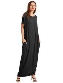 Negro de manga corta Vestido suelto Maxi con el bolsillo