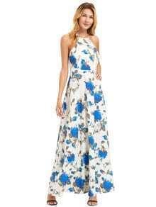 Blanca de la impresión floral del vestido del halter maxi cuello