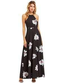 Negro de la impresión floral del cuello halter vestido maxi