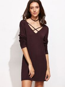 Red Criss Cross V Neck Dress