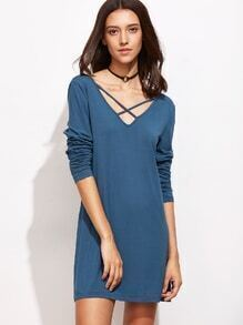 Blue Criss Cross V Neck Dress