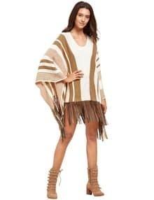 Rayada blanca manga del Batwing de la borla del dobladillo del suéter