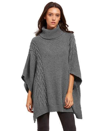 Grey Batwing Sleeve High Neck Sweater