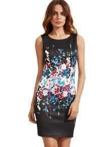 Schwarzes Weinlese-Druck-Sleeveless Hüllen-Kleid