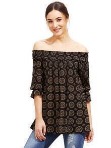 Printed Shirred Off The Shoulder Pleated Blouse