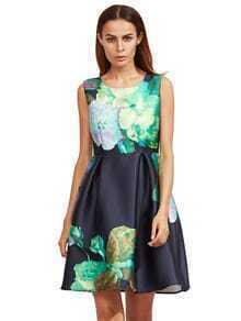 Floral Sleeveless Flare Dress