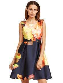 Yellow Floral Sleeveless Flare Dress
