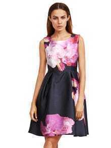 Púrpura floral vestido de mangas sin mangas
