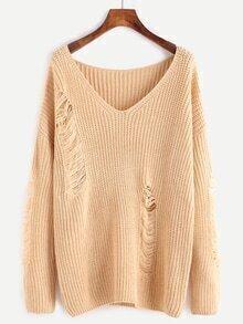 Aprikose V-Ausschnitt Drop Schulter zerrissenen Pullover