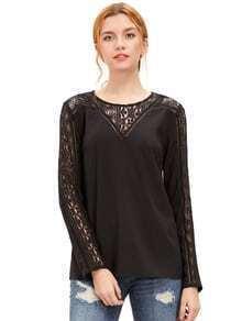 Black Lace Trim Long Sleeve Blouse
