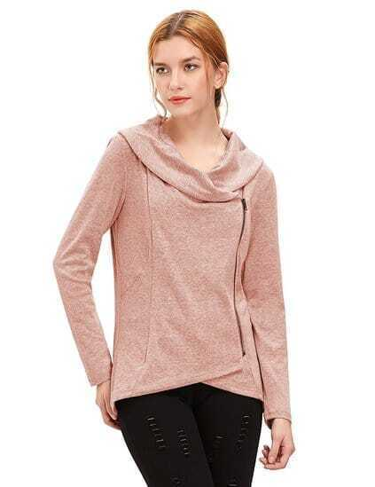Pink Cowl Neck Asymmetric Zip Coat