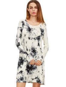 Black And White Ink Print Tie-dye Long Sleeve Dress