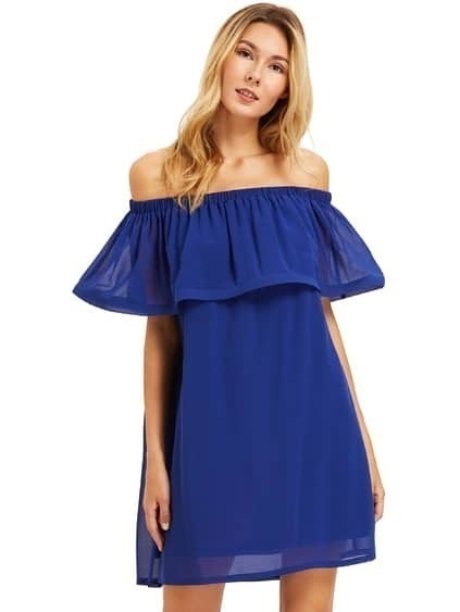 Royal Blue Ruffle Off The Dress épaule Shift