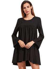 Negro del vestido largo de la manga de la colmena