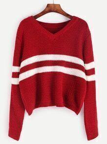 Jersey corto con rayas - rojo