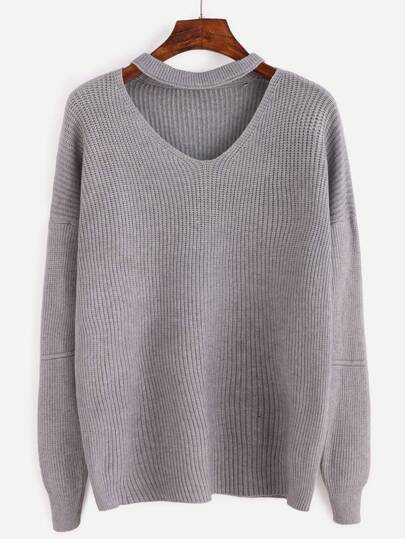 Grey Cut Front Sweater