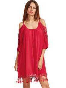 Rojo hombro abierto de ganchillo vestido de la borla de la manga del cordón